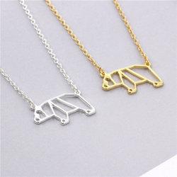 Aleación de zinc de los niños pequeño erizo Collar Collar Simple Animal de Origami Necklace