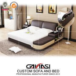 Italainのホテルの家具の夜立場が付いている現代革ベッドセット