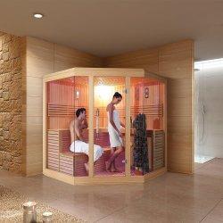 Luxe Diamond Shaped Bathroom Solid Wood Corner Hotel Sauna Room