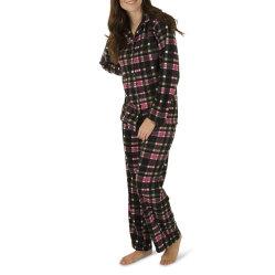 Le donne di fabbricazione scaldano il tessuto stabilito del plaid del pigiama a due pezzi degli indumenti da notte