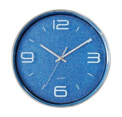 """16"""" раунда игристое синий пластиковый Европы 3 с левой Quartz Настенные часы"""