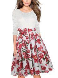 Coutures de dentelle haute qualité Seven-Minute manchon fleur Lady robe taille haute