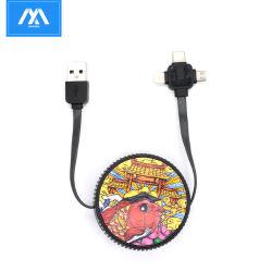 Het Ontwerp die van de trommel 3 in 1 het Laden USB Kabel schrapen Mobiele Micro- USB van het Type C van Toebehoren van de Telefoon iPhoneKabel