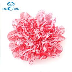 3D rojo tela satinada doble encajes flor