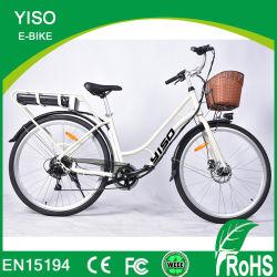 Bicicletta elettrica 11.6ah della città di colore di verde della città della bici 700c della forcella d'acciaio ad alto tenore di carbonio elettrica bianca classica della rotella