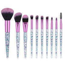 Conjunto de escovas de maquiagem 10 Peças Professional espelho cosmético Kit da Escova com jóias cintilantes lidar com cerdas sintéticas para enfrentar em pó Blend Fundação Eye Shadow