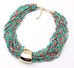 La moda europea y americana Arroz Estilo bohemio cordón multicapa Necklace