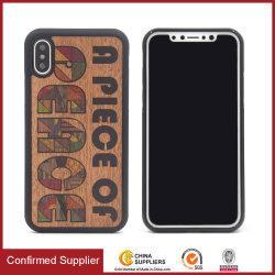 تصميم مخصص مطبوع على حقائب الهواتف الواقية من الخشب الهجين الحقيقي