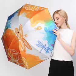 Regalo di qualità antivento piegante del parasole delle donne del reticolo della pittura a olio della libellula dell'ombrello di modo nero creativo piovoso pieno di sole del rivestimento