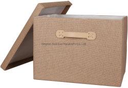 صندوق تخزين مزيّن بغطاء ومقبض جلدي