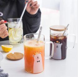 Bonitinha Bonitinha suportar altas de vidro borossilicato Flower Tea Cup Copa do café da manhã criativa copo grande capacidade copo de água