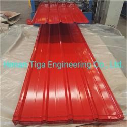 Color azul verde rojo Caja de acero prebarnizado perfil trapezoidal techado de la hoja