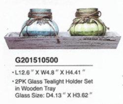 De machine maakte het Bespoten Glas Tealight van de Kleur 2PCS/de Reeks van de Houder van de Kaars