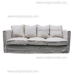 Design antigo mobiliário de estilo rústico da nata de almofadas de tecido de linho de carvalho branco Sofá três lugares
