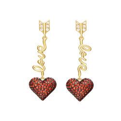 Серебристый украшения сердца и стрелок Ruby on Rails Silver Earring Custom Ювелирные изделия