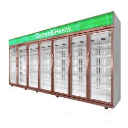 Supermercado mayorista Mostrar frigorífico puerta de cristal Mostrar Congeladores refrigerador comercial para bebidas