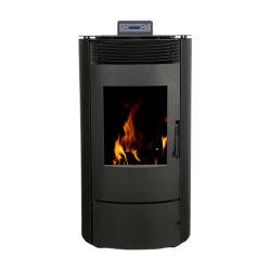 Estufa de pellets redonda/Calefacción microondas con control remoto