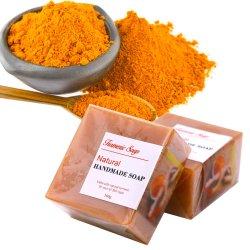 Großhandelshandwäsche-handgemachte Herstellungs-Haut-Beleuchtung, die Karosserien-organische natürliche Gelbwurz-Seife weiß wird