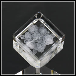 2 pouces Crystal coin coupé Cube Rose gravé au laser (ND-1021)