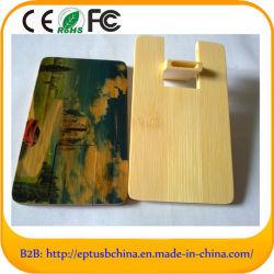 Memoria USB de madera tarjeta de crédito USB con logo personalizado
