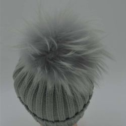 Peles com pêlo pompom party Beanie/bebê Hat com cabelos/Tricô Chapéus de Inverno