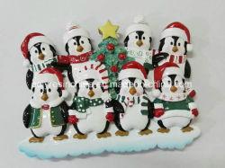 Tabla de la familia de pingüinos de resina Topper Ornamento de Navidad