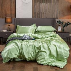 Cor Cal 4PCS roupa de seda de luxo situado Satin Cama Queen Cama King Size Definir Consolador Retalhos Edredão cobrir com lençóis e fronhas Lençol