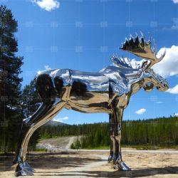 Acero inoxidable Elk Escultura Grandes Animal Factory decoración exterior personalizado estatuas para Holiday Resort Park supermercado público