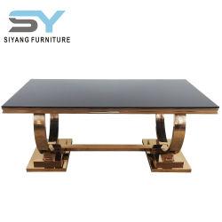 居間の家具のガラス表の大きいダイニングテーブル木表