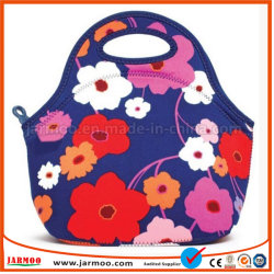 Nueva moda bolsa de almuerzo de neopreno de flores
