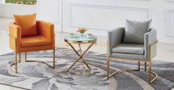 Hotel Sofa Chair Tisch Montage Einfach Stil Moderne Edelstahl Endtisch mit klarem Glas