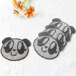 Commerce de gros autocollant Panda Crystal Rhinestone Patch pour sac de vêtements Accessoires