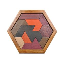 Kinder Educational Toy Sechseckige Form Wooden Jigsaw Tangram Puzzle Game Board