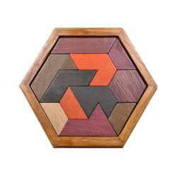 Les enfants de forme hexagonale de jouets éducatifs Puzzle Tangram jeu de puzzle en bois d'administration