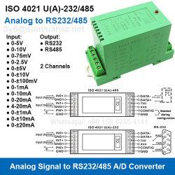 RS232/RS485 Modbus RTU 정보 수집 모듈에 (a) -232/485 ISO 4021 U 시리즈 0-20mA/4-20mA/0-5V/0-10V/1-5V 아날로그 신호