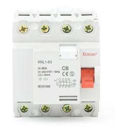 セリウム、CB、TUVの証明書IEC/En61008-1が付いているKorlen Knl1-63 F362 F364の残りの現在の回路ブレーカの磁気タイプRCCB