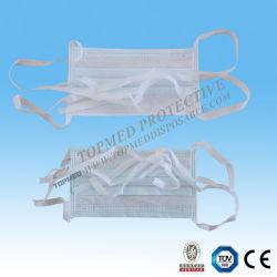 Azul/verde/blanco 3ply Nonwoven desechables mascarilla quirúrgica con Tie