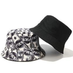 ドルデザイナーバケツの帽子の屋外の男女兼用の通りの帽子の方法人および女性のための可逆Foldable帽子の夏の日曜日Sceenの紫外線保護通貨の帽子を印刷する