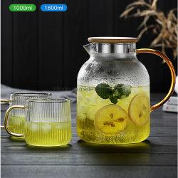 صنّع الزجاج 2021 أحدث تصميم زجاجة مياه باردة شرب وعاء ضع إبريق ماء زجاجي شفاف مع الأكواب