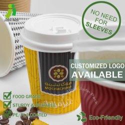 طباعة مخصصة مشروب ساخن يمكن التخلص منه كوب ورق القهوة - تموج مموج أكواب القهوة على ورق الحائط مع أغطية - لا حاجة إلى أكمام