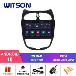 Четырехъядерные процессоры Witson Android 10 DVD GPS для Peugeot 206 Bluetooth OBD2 аудиосистемы автомобиля