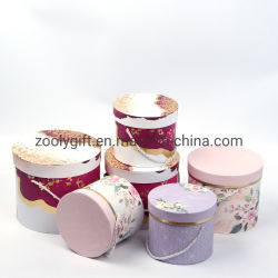 Benutzerdefinierte Luxus-Dekoration Runde Verpackung Box Hochzeitspapier Geschenkbox Papierkarton Set Zylinder Blumenkasten Boxen