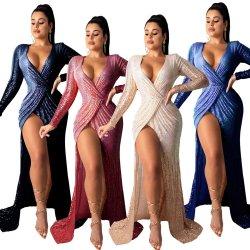 أوروبا والولايات المتحدة تبيع مزاج مثير أنيق من الياقة الملتصقة نادي لونج سليفز هاي سبليت الليلي واللباس