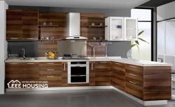 В квартире использовалась итальянская популярная фанера Современная ПВХ обернутая виниловая древесина Модульный кухонный шкаф Grain