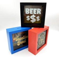 子供のための正方形の木の銭箱の写真フレームのシャドーボックスの卸売