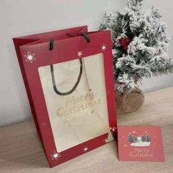 Kundenspezifische Xmas Vibe Geschenkpapierbeutel mit transparentem Fenster für Weihnachten Xm