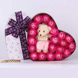 2021وصلت جديدة تخصيص شعار عيد الحب هدية لالدب الخاص بها صابون زهرة مصنوعة في الصين