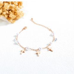 Mode Verstellbare Perle Kreuz Anhänger SchmuckEdelstahl Frauen Armband