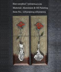 3D moderno alumínio vaso de flores de Metal Relievo pintura a óleo 100% decoração Arte na parede interior artesanais