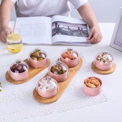 セラミックフルーツプレートスナックプレートケーキデザートボウルグラスカバー トレイプディングアイスクリームトレイセット付きセラミックボウル